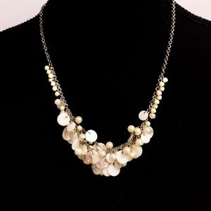 LOFT pearl & silver crystal studded disc necklace